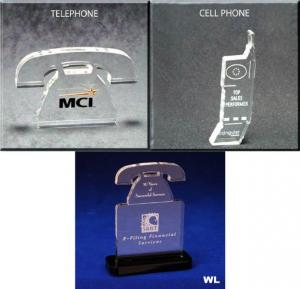Telephone/Cell Phone Shaped Acrylic Award/Paperweight