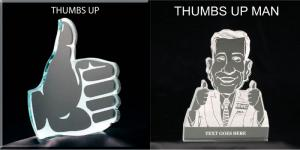 Thumbs Up Shaped Acrylic Award/Paperweight