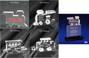 Toy Train Shaped Acrylic Award/Paperweight