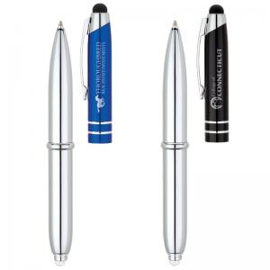 Ballpoint Pen with Stylus and LED Flashlight