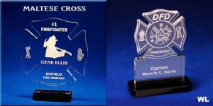 Maltese Cross Shaped Acrylic Award/Paperweight