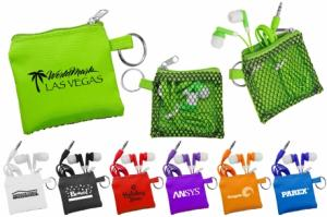 Matching Color Earbud And Mesh Pouch