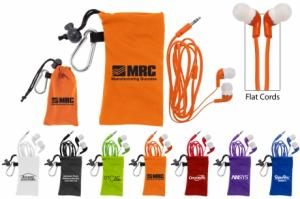 Colorful Microfiber Pouch With Earbuds