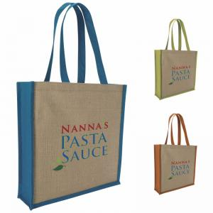 Slim Jute Tote Bag with Contrasting Sides