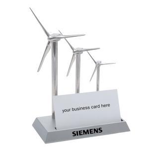 Silver Wind Turbine Business Card Holder