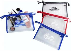Clear Cosmetic Bag with Colorful Trim