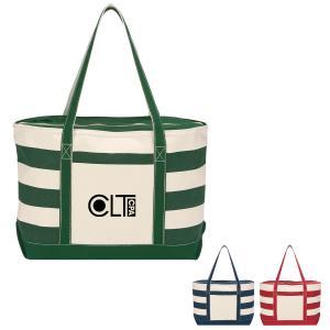 18 oz. Striped Weekender Canvas Tote Bag