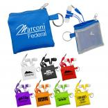 Colorful Ear Buds in Matching Mesh Pouch with Key Ring