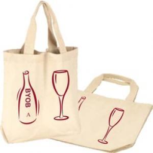 12 oz. Two Wine Bottle Natural Cotton Canvas Tote Bag