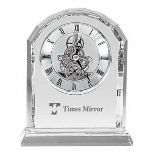Moving Gears Crystal Desk Clock with Roman Numerals