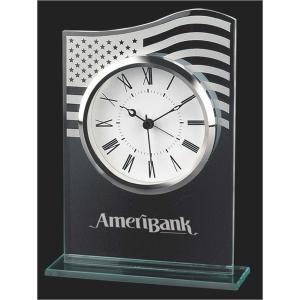 Glass American Flag Analog Desk Clock