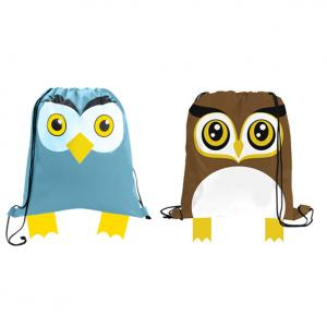 Owl Shaped Paws N Claws Drawstring Backpack