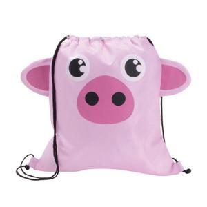 Pig Shaped Paws N Claws Drawstring Backpack