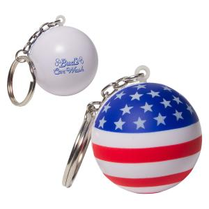 Patriotic Ball Key Chain Stress Reliever