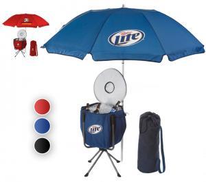 Portable Umbrella And Cooler Set