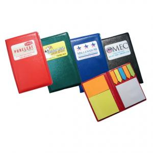 Leatherette Note Holder with Sticky Notes and Flags