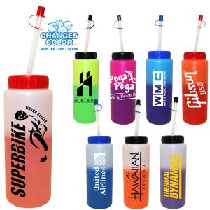 32 Oz. Color Changing Sports Water Bottle with Flexible Straw