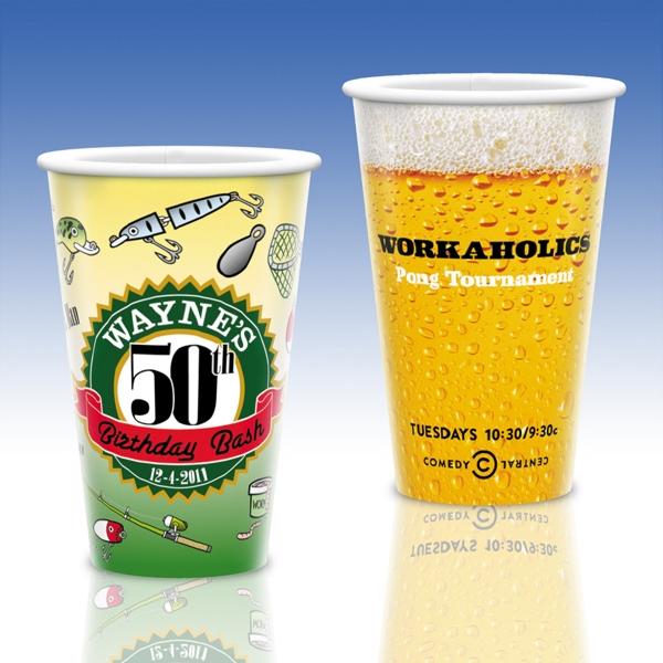 16 Oz. Full Color White Plastic Cup