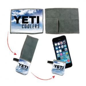 Microfiber Cloth with Carrying Keychain Pouch