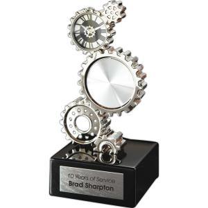 Gear Shaped Desk Clock Award