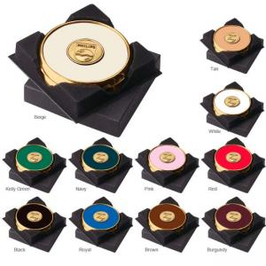 Brass and Leather Coaster Set with Black Gift Box