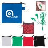 Color Ear Buds in Mesh Zip Pouch