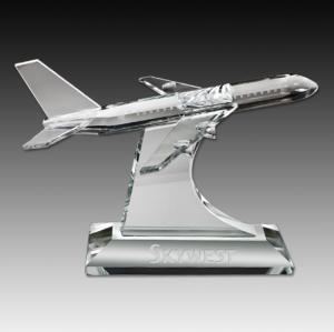 Airplane Shaped Crystal Paperweight Award