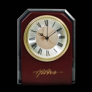 Mahogany Wood and Glass Desktop Analog Clock