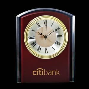 Curved Mahogany Wood and Glass Desktop Analog Clock