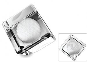 Standing Crystal Cube w/ 3-D Golf Ball Paperweight Award