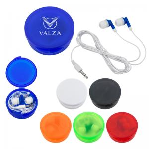 Ear Buds In Round Traveling Case