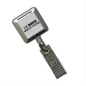 Square Retractable Badge Reel with Swivel Alligator Clip