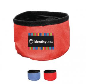 Foldable Nylon Travel Pet Bowl with a Full Color Imprint