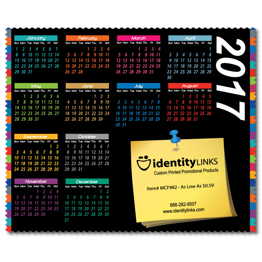 "Custom Calendar 6"" x 7"" Microfiber Cleaning Cloths"