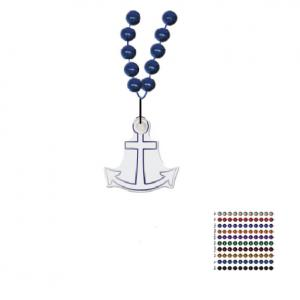 Mardi Gras Beaded Necklace With Soft Vinyl Medallion - Anchor Shape
