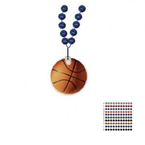 Mardi Gras Beaded Necklace With Soft Vinyl Medallion - Basketball Shape