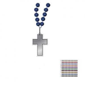 Mardi Gras Beaded Necklace With Soft Vinyl Medallion - Cross Shape