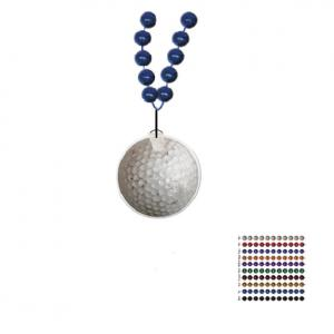 Mardi Gras Beaded Necklace With Soft Vinyl Medallion - Golf Ball Shape