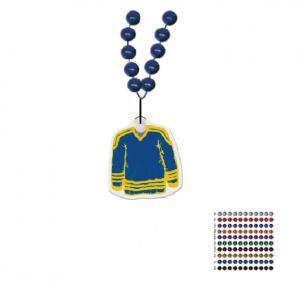 Mardi Gras Beaded Necklace With Soft Vinyl Medallion - Hockey Jersey Shape