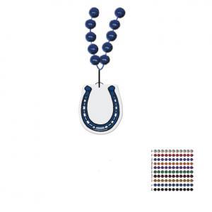 Mardi Gras Beaded Necklace With Soft Vinyl Medallion - Horseshoe Shape