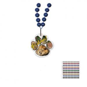 Mardi Gras Beaded Necklace With Soft Vinyl Medallion - Paw Shape