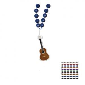 Mardi Gras Beaded Necklace With Soft Vinyl Medallion - Acoustic Guitar Shape