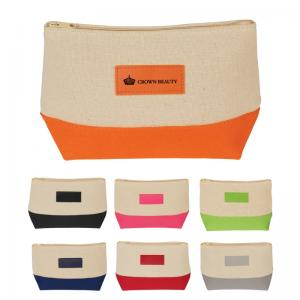 Color Accented Jute Cosmetic Bag
